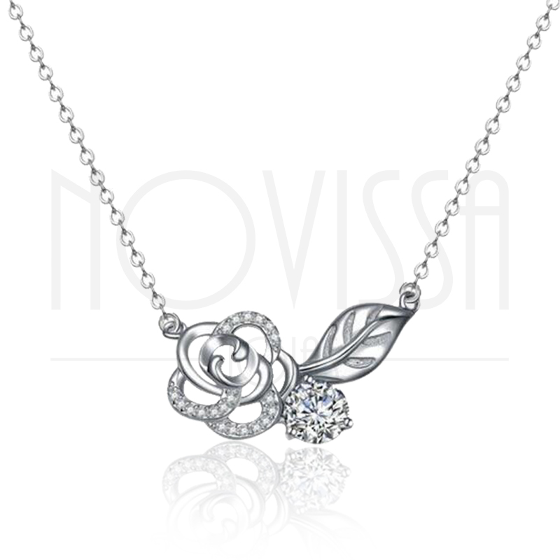 imagem ROSE ELEGANCE  - COLAR DE PRATA 925S COM CRISTAL DE SWAROVSKI - FLOWER