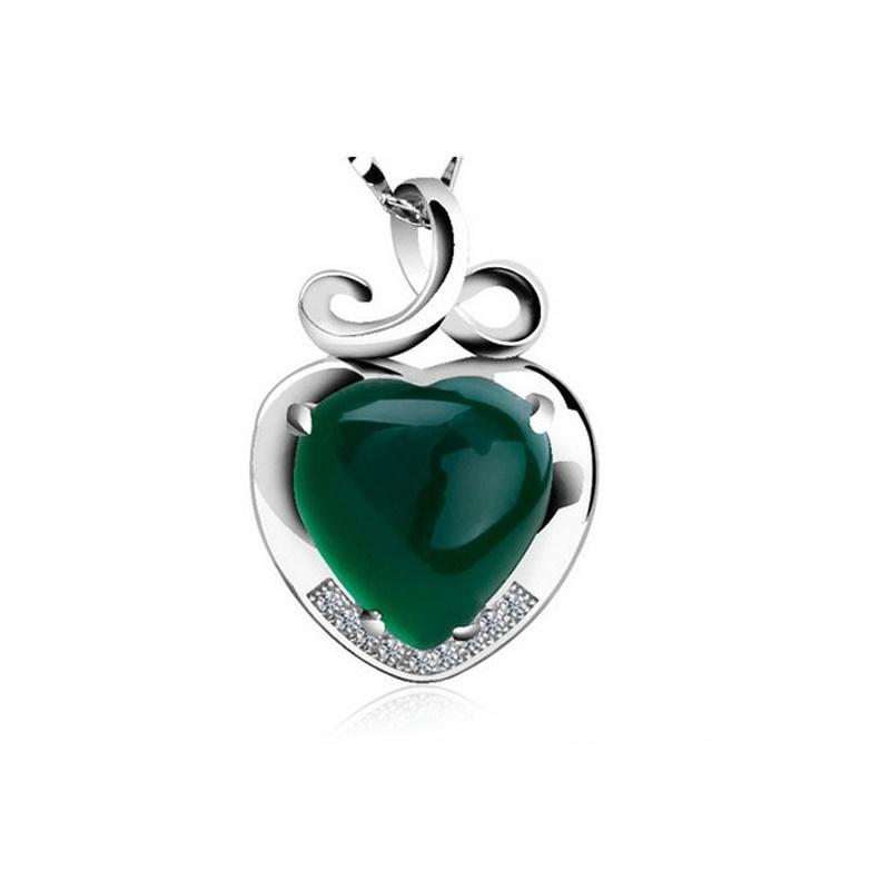 imagem GREEN HEART -  COLAR DE PRATA 925S COM LINDOS CRISTAIS DE SWAROVSKI