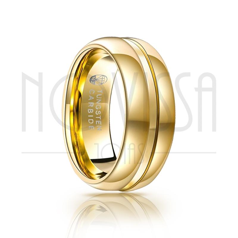 GOLD LINE EDITION - ANEL DE TUNGSTÊNIO MAGNETIZADA A OURO 18K, ACABAMENTO  DE ALTO BRILHO 2d627c1678