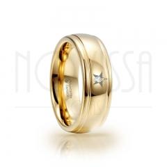 imagem ESTRELA COM CLAVE DE SOL - MASSIVE GOLD ELEGANCE - ANEL DE TUNGSTÊNIO COM ACABAMENTO DE ALTO BRILHO
