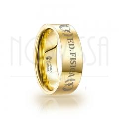imagem ED FISICA - GOLD EDITION SQUARE - ANEL DE TUNGSTÊNIO MAGNETIZADAS A OURO 18K