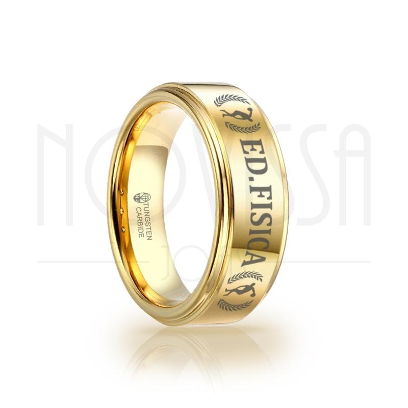 imagem ED FISICA - GOLD EDITION - ANEL DE TUNGSTÊNIO MAGNETIZADO A OURO 18K DE ALTO BRILHO