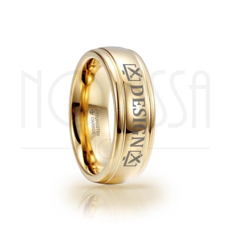 imagem DESIGN - MASSIVE GOLD ELEGANCE - ANEL DE TUNGSTÊNIO COM ACABAMENTO DE ALTO BRILHO