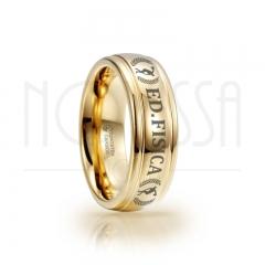imagem ED FISICA - MASSIVE GOLD ELEGANCE - ANEL DE TUNGSTÊNIO COM ACABAMENTO DE ALTO BRILHO