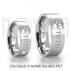 imagem LOVE PET - ALIANÇAS DE PRATA 950 COM/SEM SWAROVSKI, ACABAMENTO FOSCO