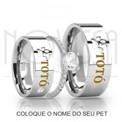 imagem PET -  ALIANÇAS DE PRATA 950, ACABAMENTO ALTO BRILHO+ SOLITÁRIO