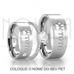 imagem PET -  ALIANÇAS DE PRATA 950, ACABAMENTO FOSCO + SOLITÁRIO