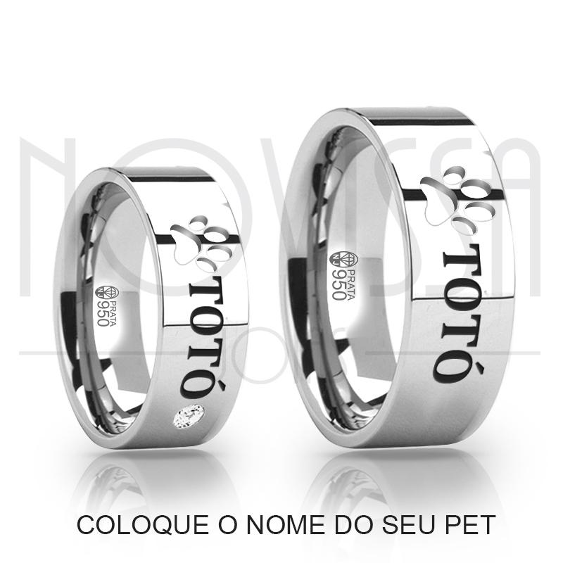 imagem LOVE PET - ALIANÇAS DE PRATA 950 COM/SEM SWAROVSKI, ACABAMENTO EM ALTO BRILHO